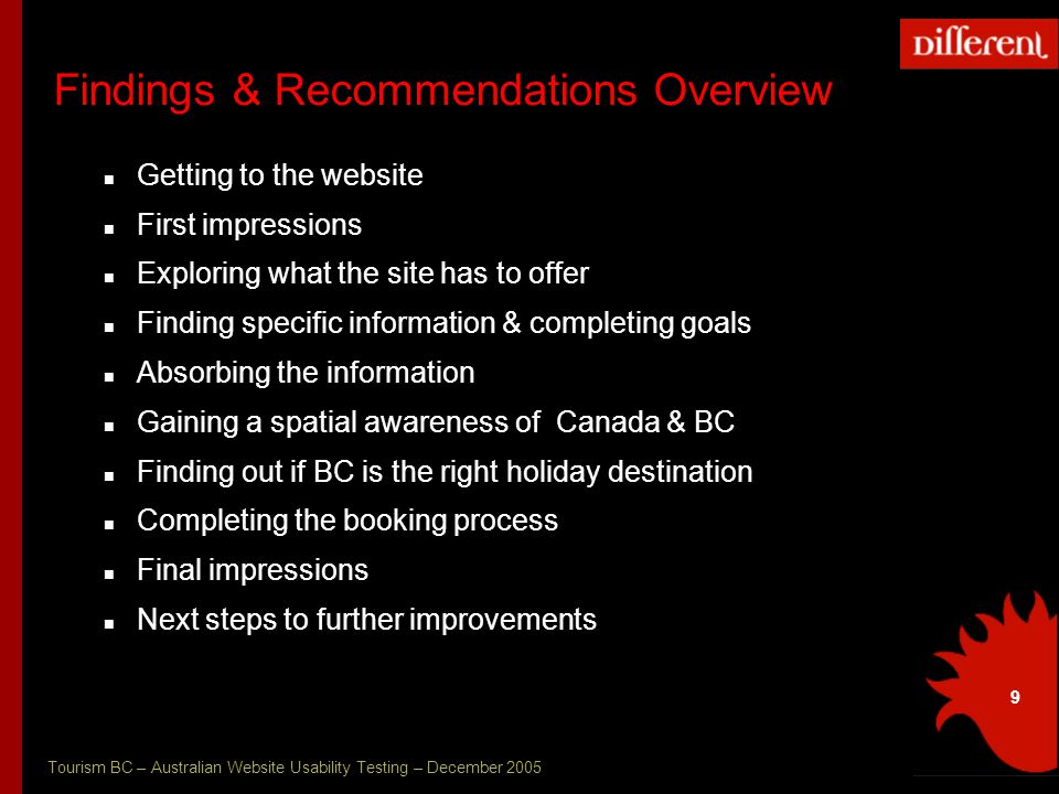 Tourism BC – Australian Website Usability Testing – December 2005 9 Findings & Recommendations Overview Getting to the website First impressions Exploring what the site has to offer Finding specific information & completing goals Absorbing the information Gaining a spatial awareness of Canada & BC Finding out if BC is the right holiday destination Completing the booking process Final impressions Next steps to further improvements
