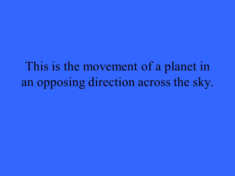 This is the movement of a planet in an opposing direction across the sky.