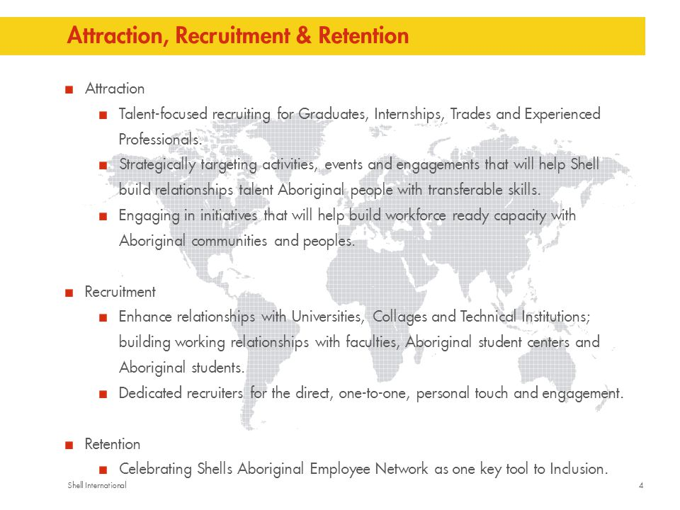 4Shell International Attraction, Recruitment & Retention Attraction Talent-focused recruiting for Graduates, Internships, Trades and Experienced Professionals.