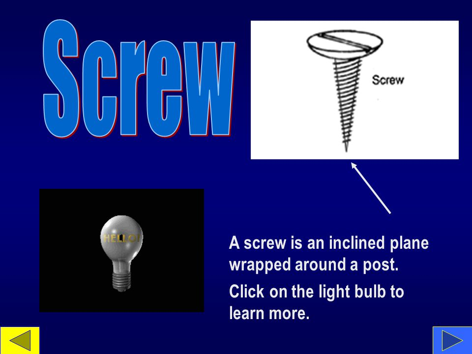 A screw is an inclined plane wrapped around a post. Click on the light bulb to learn more.
