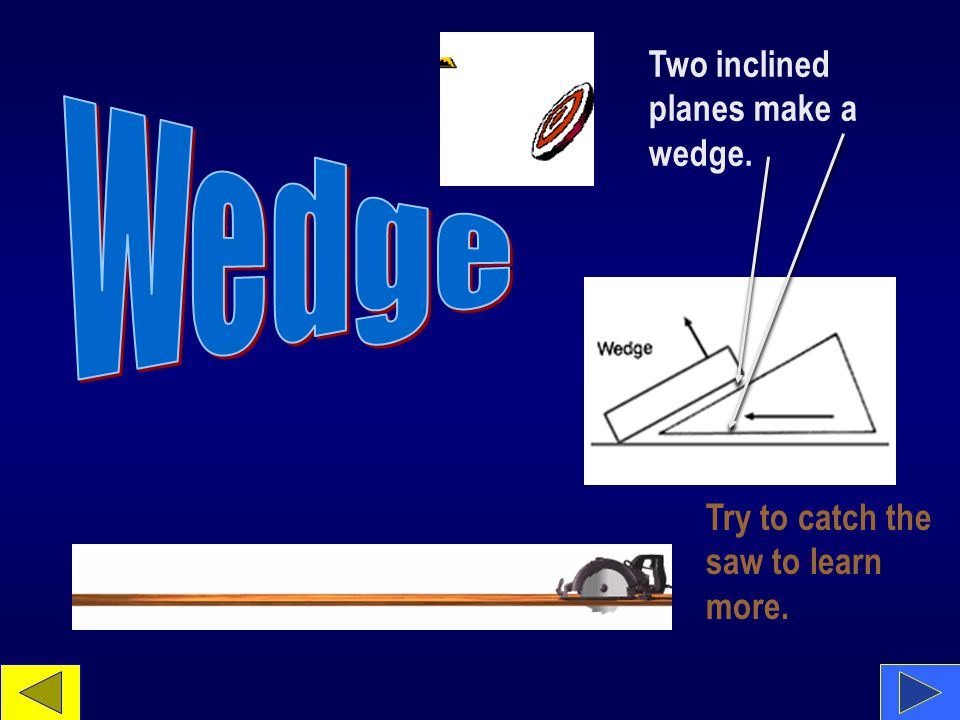 Two inclined planes make a wedge. Try to catch the saw to learn more.