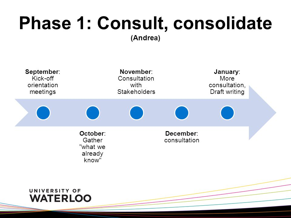 Phase 1: Consult, consolidate (Andrea) September: Kick-off orientation meetings October: Gather what we already know November: Consultation with Stakeholders December: consultation January: More consultation, Draft writing
