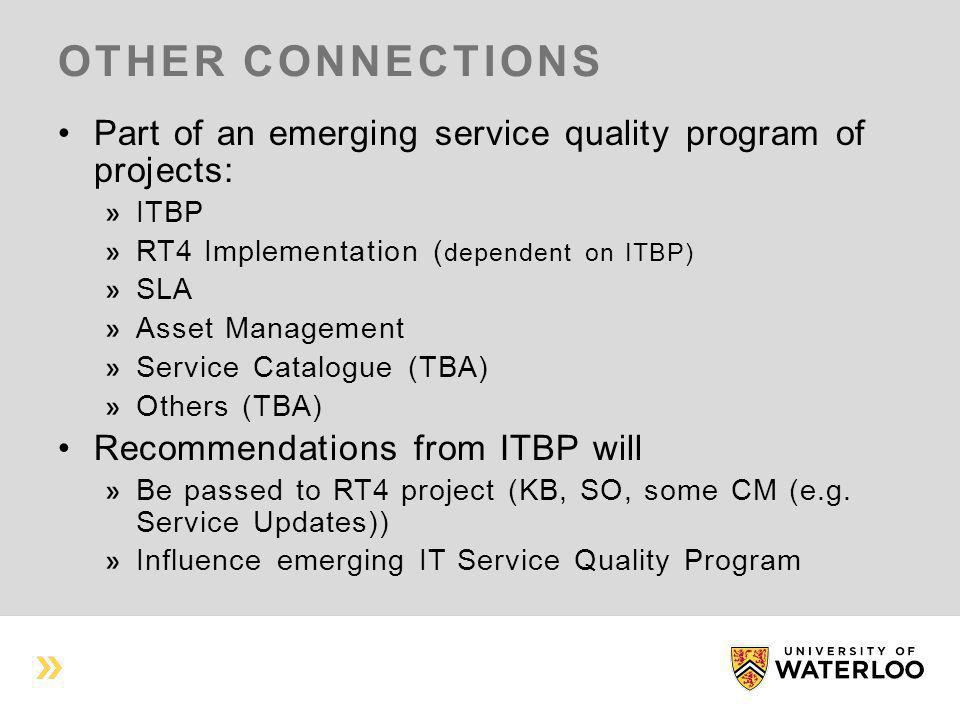 OTHER CONNECTIONS Part of an emerging service quality program of projects: ITBP RT4 Implementation ( dependent on ITBP) SLA Asset Management Service Catalogue (TBA) Others (TBA) Recommendations from ITBP will Be passed to RT4 project (KB, SO, some CM (e.g.