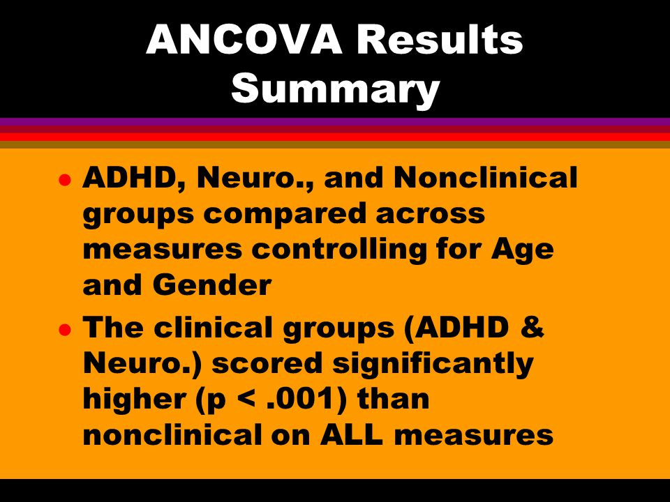 ANCOVA Results Summary l ADHD, Neuro., and Nonclinical groups compared across measures controlling for Age and Gender l The clinical groups (ADHD & Neuro.) scored significantly higher (p <.001) than nonclinical on ALL measures
