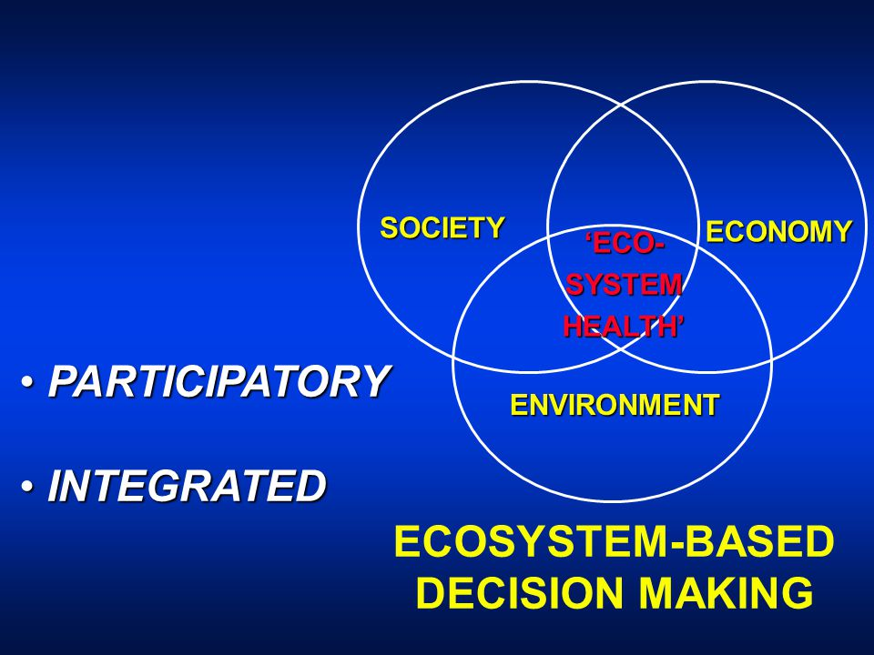 SOCIETY ENVIRONMENT ECONOMY ECOSYSTEM-BASED DECISION MAKING PARTICIPATORY PARTICIPATORY INTEGRATED INTEGRATED 'ECO-SYSTEMHEALTH'