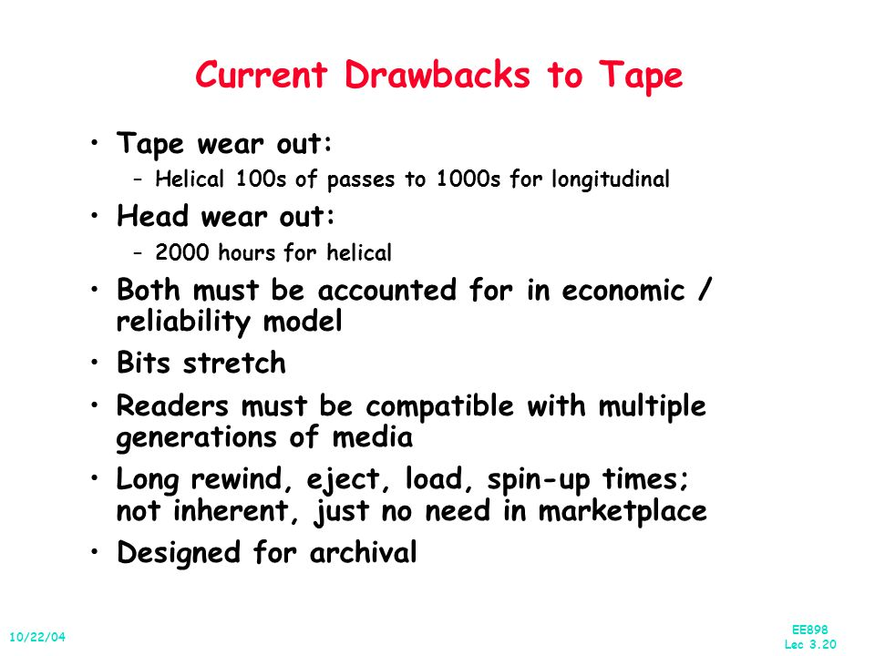 EE898 Lec 3.20 10/22/04 Current Drawbacks to Tape Tape wear out: –Helical 100s of passes to 1000s for longitudinal Head wear out: –2000 hours for helical Both must be accounted for in economic / reliability model Bits stretch Readers must be compatible with multiple generations of media Long rewind, eject, load, spin-up times; not inherent, just no need in marketplace Designed for archival
