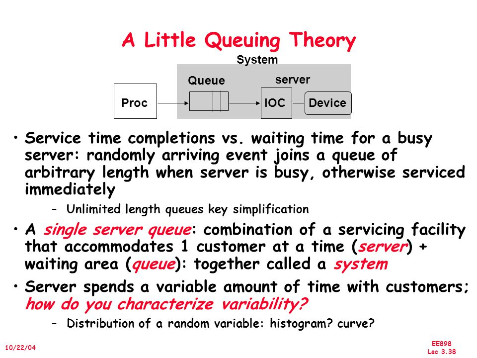 EE898 Lec 3.38 10/22/04 A Little Queuing Theory Service time completions vs.
