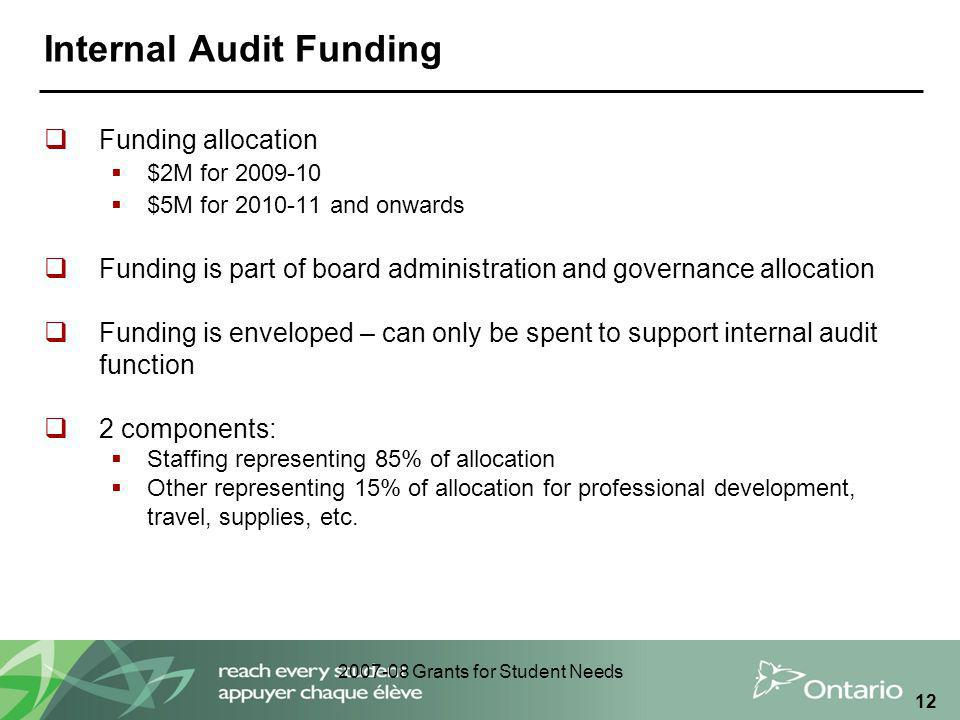 2007-08 Grants for Student Needs 12 Internal Audit Funding  Funding allocation  $2M for 2009-10  $5M for 2010-11 and onwards  Funding is part of board administration and governance allocation  Funding is enveloped – can only be spent to support internal audit function  2 components:  Staffing representing 85% of allocation  Other representing 15% of allocation for professional development, travel, supplies, etc.
