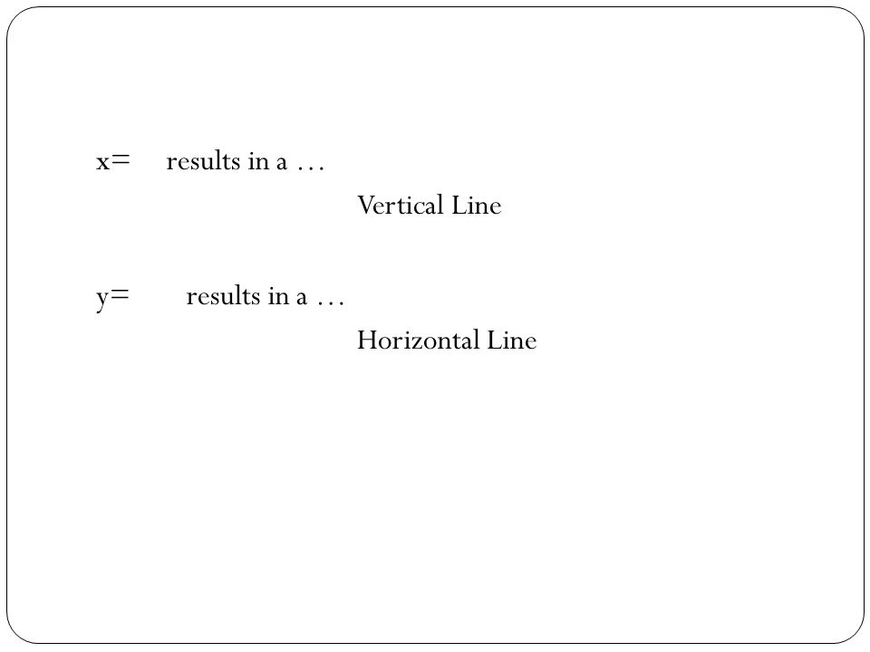 x= results in a … Vertical Line y= results in a … Horizontal Line