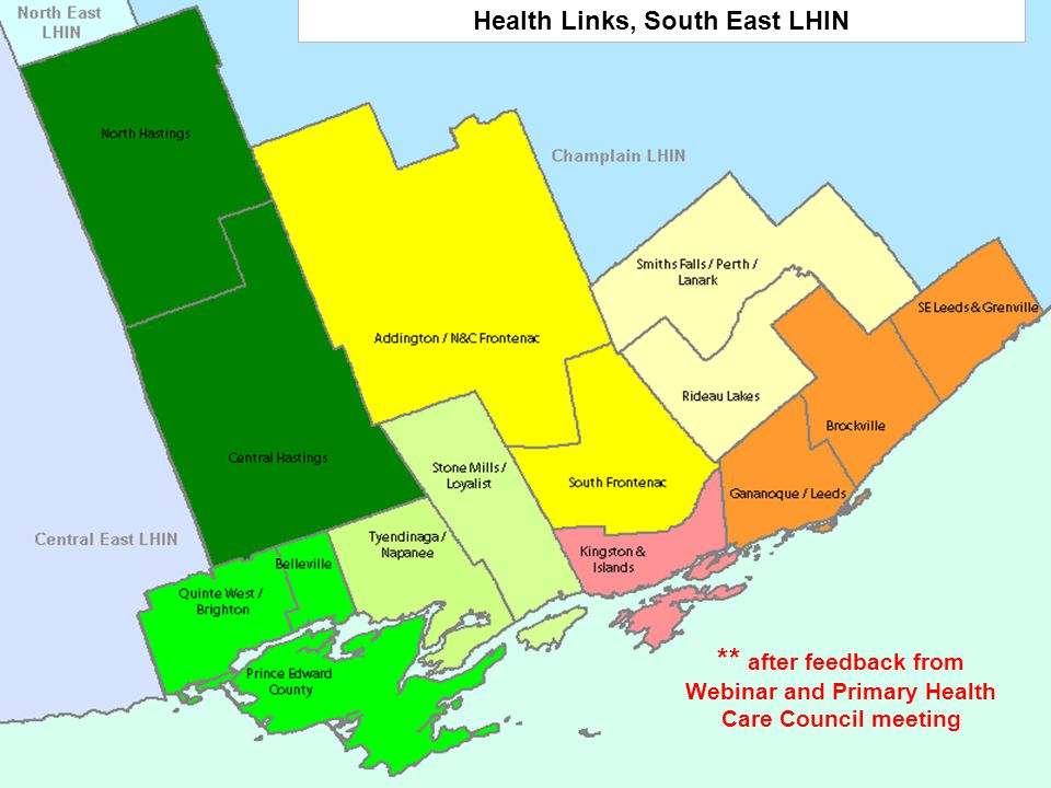 Health Links, South East LHIN ** after feedback from Webinar and Primary Health Care Council meeting 9