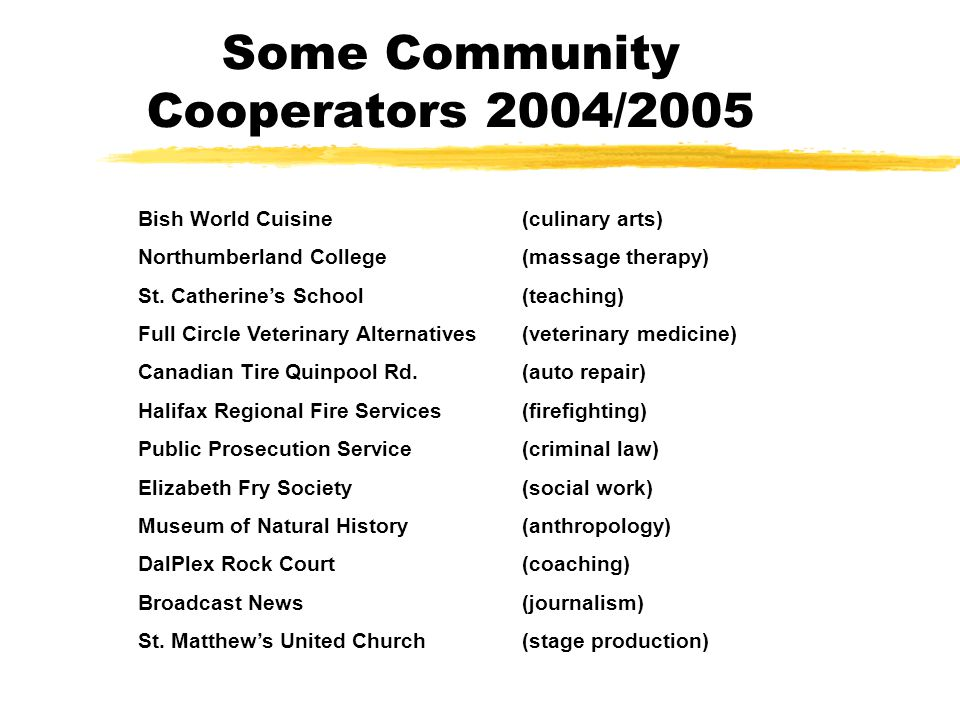 Some Community Cooperators 2004/2005 Bish World Cuisine(culinary arts) Northumberland College(massage therapy) St.