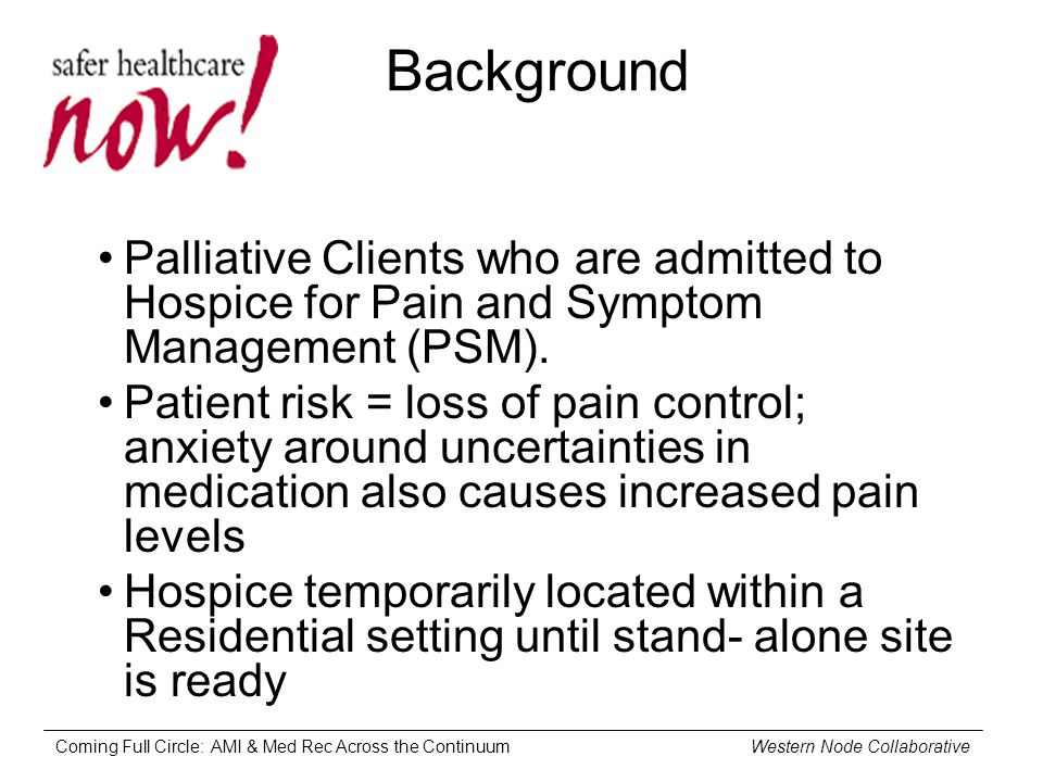 Coming Full Circle: AMI & Med Rec Across the Continuum Western Node Collaborative Background Palliative Clients who are admitted to Hospice for Pain and Symptom Management (PSM).