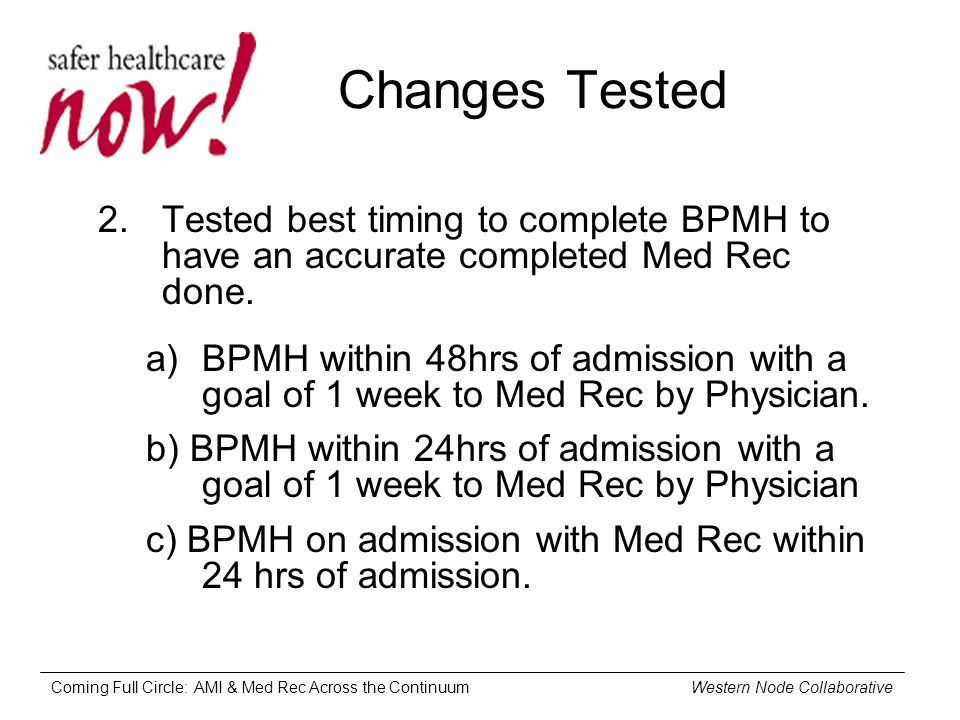 Coming Full Circle: AMI & Med Rec Across the Continuum Western Node Collaborative Changes Tested 2.Tested best timing to complete BPMH to have an accurate completed Med Rec done.