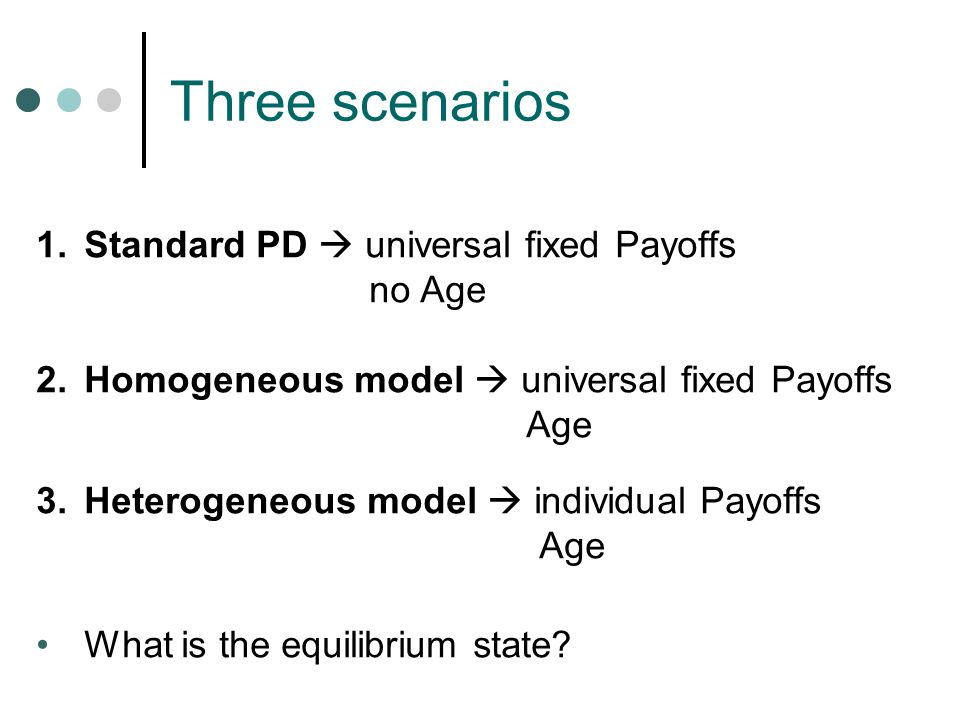 Three scenarios 1.Standard PD  universal fixed Payoffs no Age 2.Homogeneous model  universal fixed Payoffs Age 3.Heterogeneous model  individual Payoffs Age What is the equilibrium state