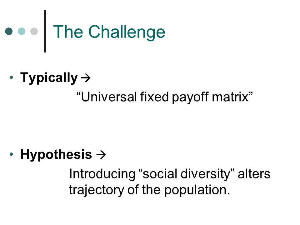 The Challenge Typically  Universal fixed payoff matrix Hypothesis  Introducing social diversity alters trajectory of the population.