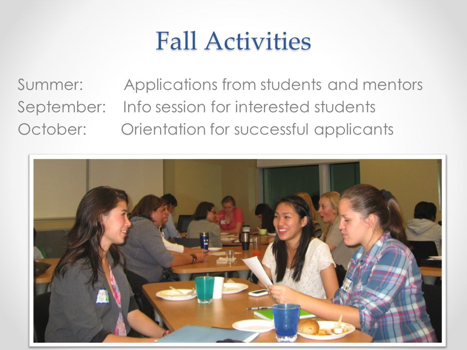 Fall Activities Summer: Applications from students and mentors September: Info session for interested students October: Orientation for successful applicants