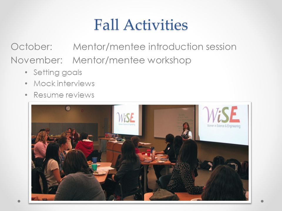 Fall Activities October: Mentor/mentee introduction session November: Mentor/mentee workshop Setting goals Mock interviews Resume reviews