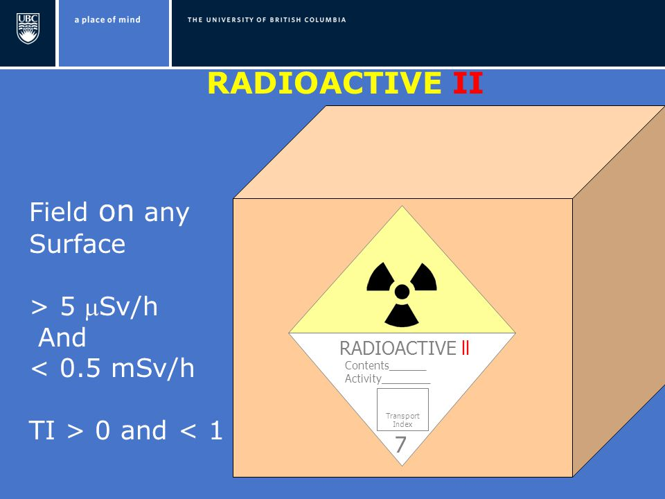 RADIOACTIVE ll Contents______ Activity________ Transport Index Field on any Surface > 5 Sv/h And < 0.5 mSv/h TI > 0 and < 1 7 RADIOACTIVE II