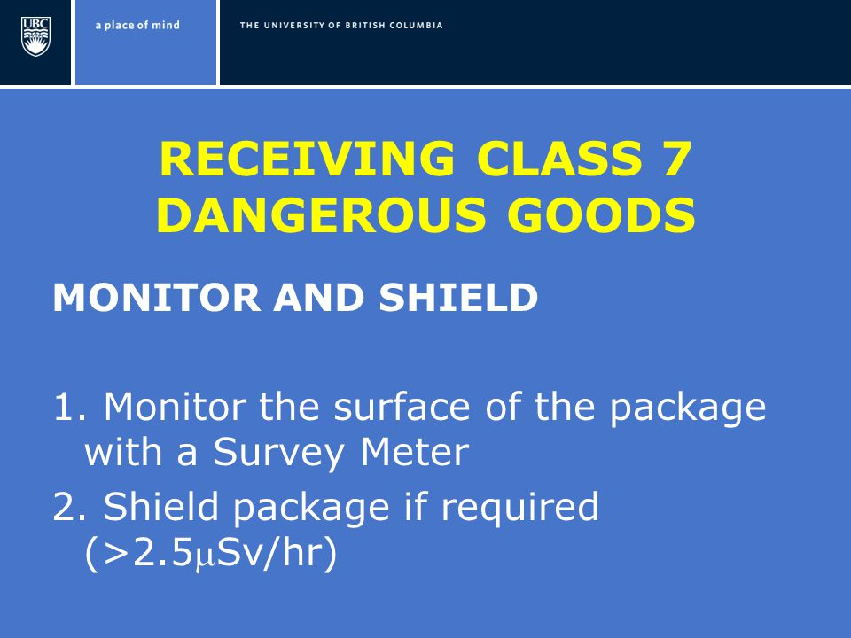 RECEIVING CLASS 7 DANGEROUS GOODS MONITOR AND SHIELD 1.