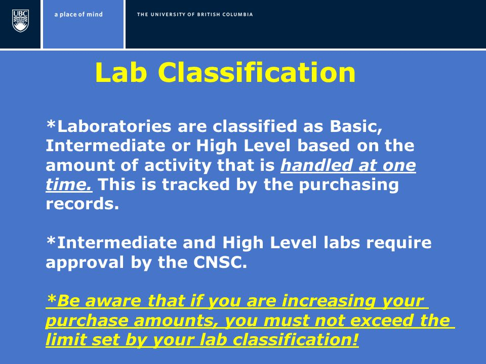 Lab Classification *Laboratories are classified as Basic, Intermediate or High Level based on the amount of activity that is handled at one time.