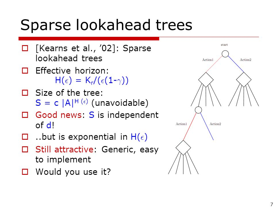 7 Sparse lookahead trees  [Kearns et al., '02]: Sparse lookahead trees  Effective horizon: H( ² ) = K r /( ² (1- ° ))  Size of the tree: S = c |A| H ( ² ) (unavoidable)  Good news: S is independent of d.