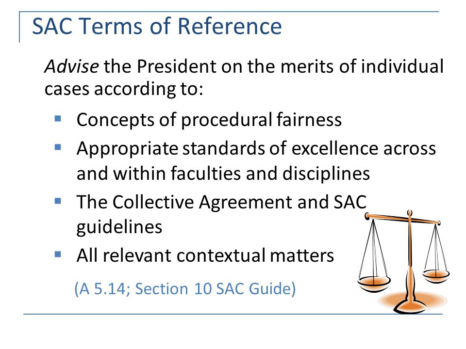 SAC Terms of Reference Advise the President on the merits of individual cases according to:  Concepts of procedural fairness  Appropriate standards of excellence across and within faculties and disciplines  The Collective Agreement and SAC guidelines  All relevant contextual matters (A 5.14; Section 10 SAC Guide)