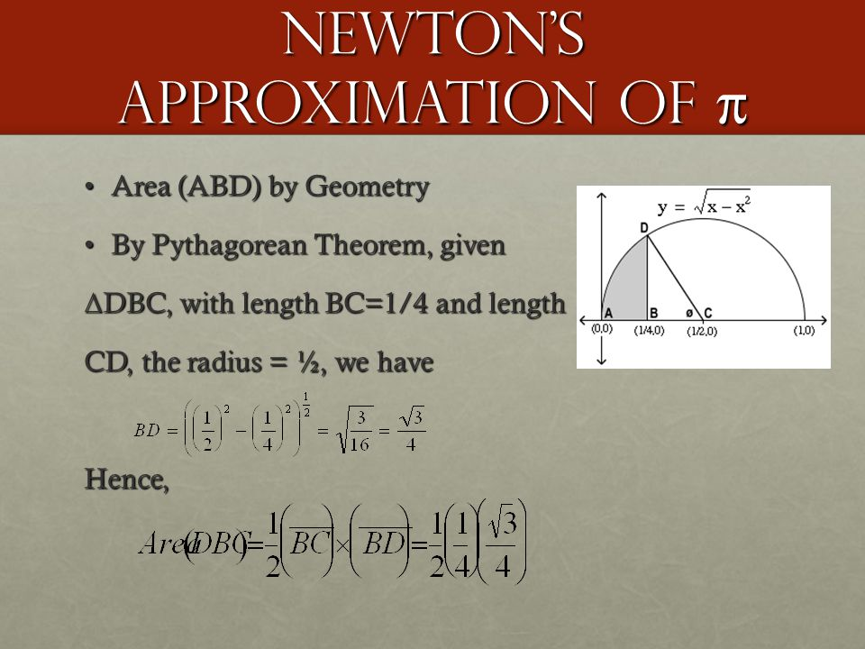 Newton's Approximation of π Area (ABD) by GeometryArea (ABD) by Geometry By Pythagorean Theorem, givenBy Pythagorean Theorem, given Δ DBC, with length BC=1/4 and length CD, the radius = ½, we have Hence,