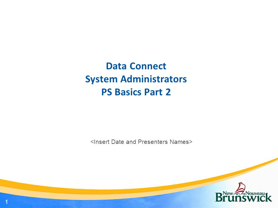 Data Connect System Administrators PS Basics Part 2 1