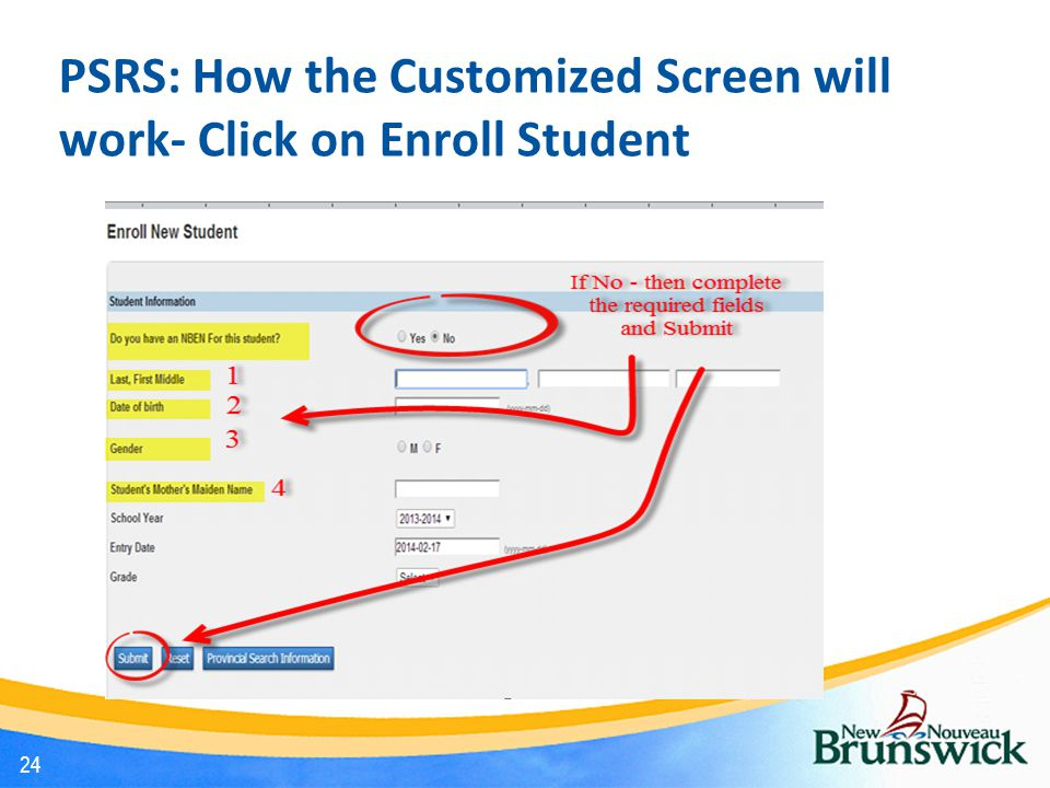 24 PSRS: How the Customized Screen will work- Click on Enroll Student