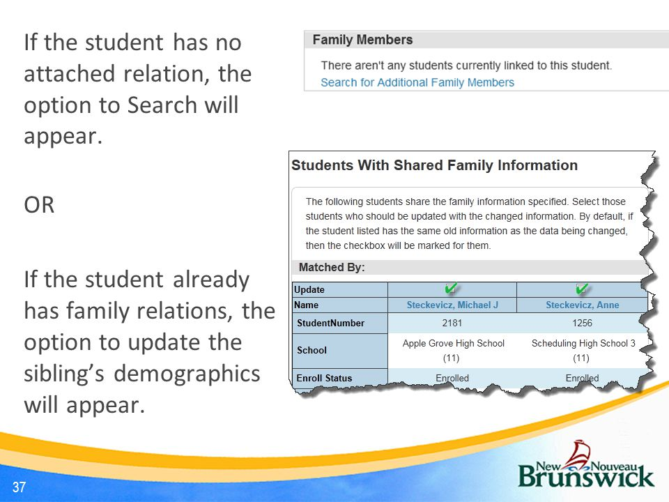 If the student has no attached relation, the option to Search will appear.