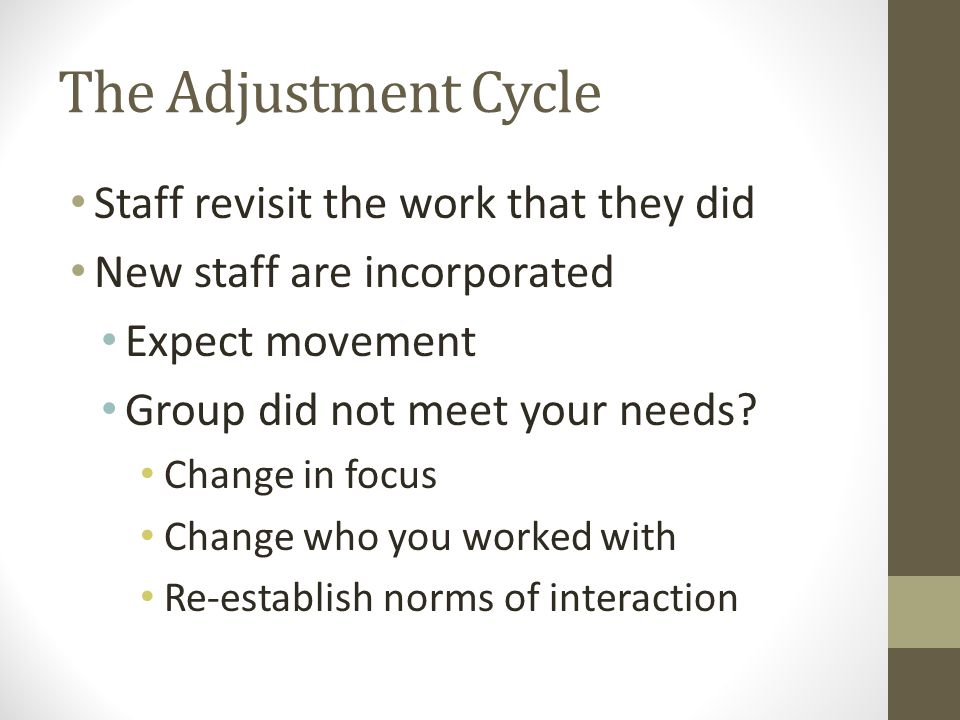 The Adjustment Cycle Staff revisit the work that they did New staff are incorporated Expect movement Group did not meet your needs.