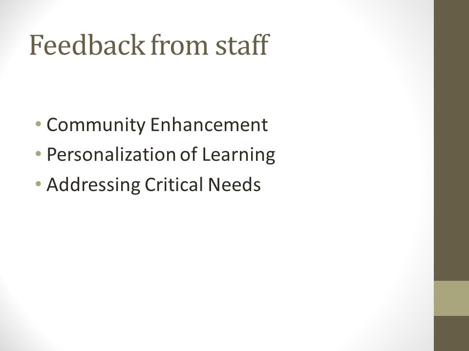 Feedback from staff Community Enhancement Personalization of Learning Addressing Critical Needs