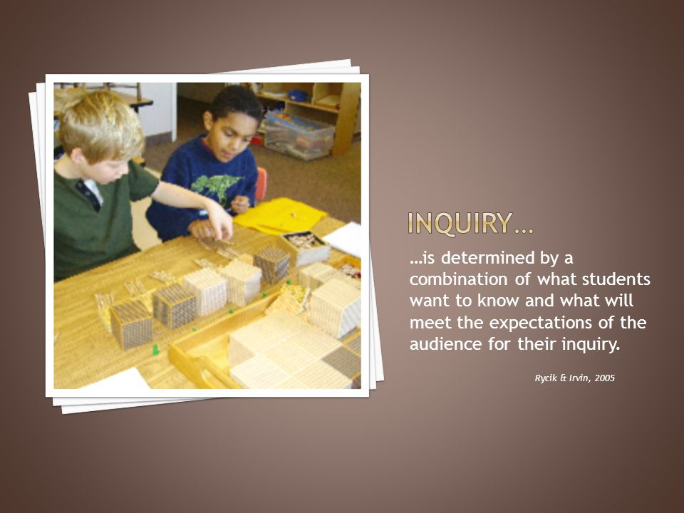 …is determined by a combination of what students want to know and what will meet the expectations of the audience for their inquiry.