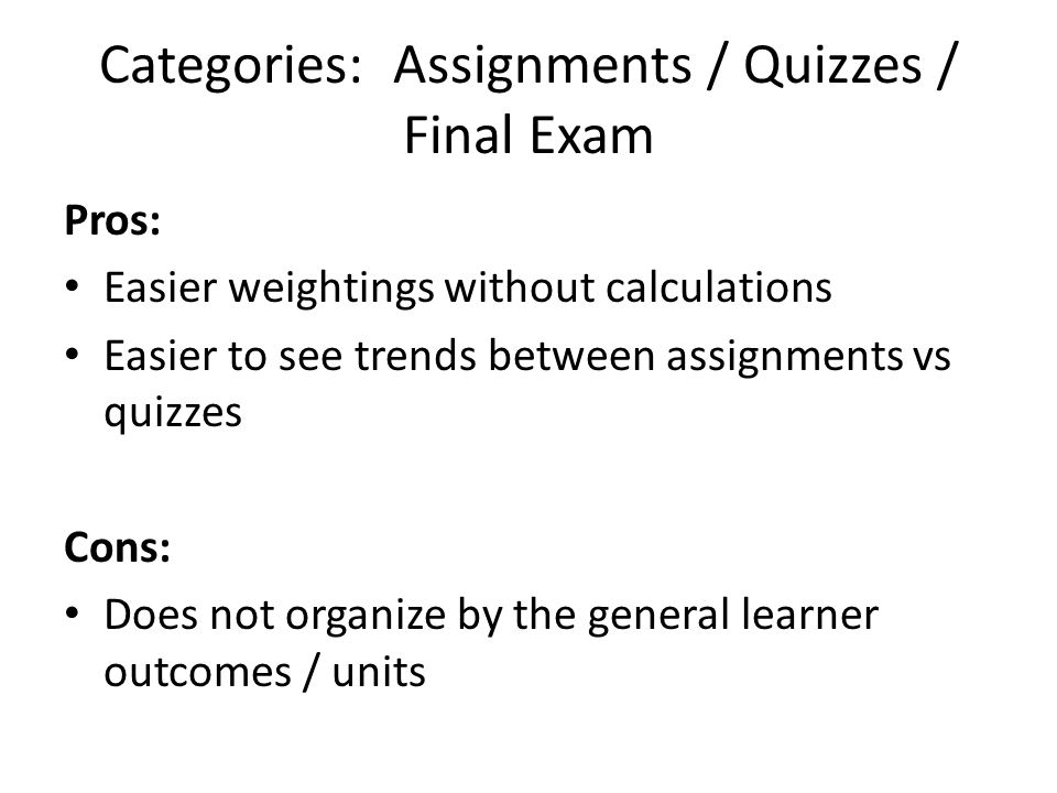 Categories: Assignments / Quizzes / Final Exam Pros: Easier weightings without calculations Easier to see trends between assignments vs quizzes Cons: Does not organize by the general learner outcomes / units