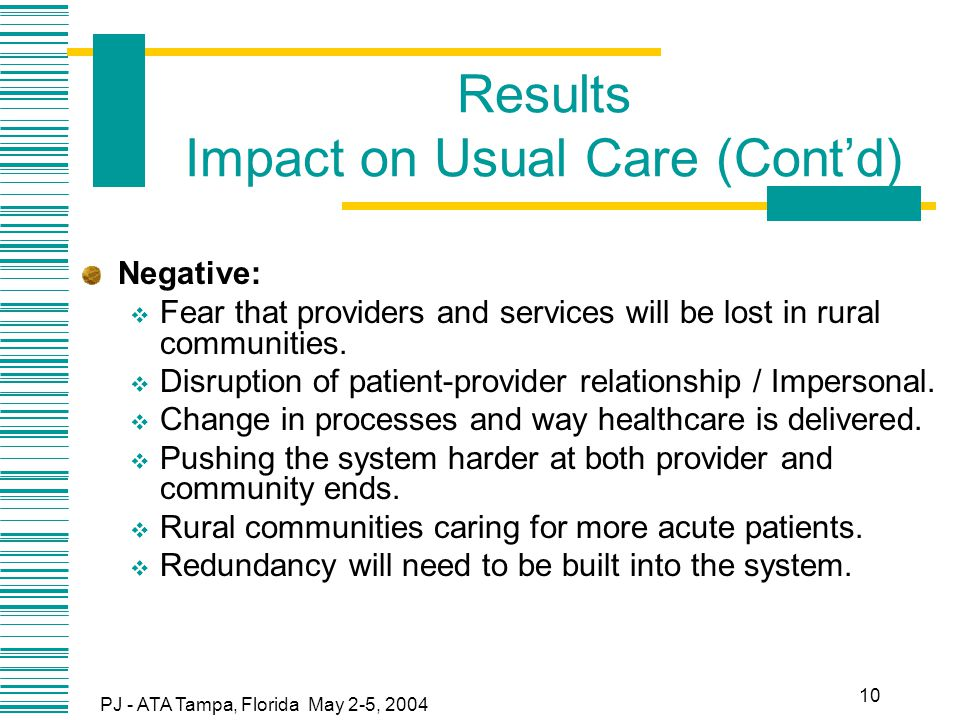 PJ - ATA Tampa, Florida May 2-5, 2004 10 Results Impact on Usual Care (Cont'd) Negative:  Fear that providers and services will be lost in rural communities.
