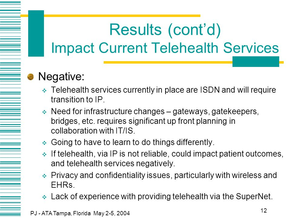 PJ - ATA Tampa, Florida May 2-5, 2004 12 Results (cont'd) Impact Current Telehealth Services Negative:  Telehealth services currently in place are ISDN and will require transition to IP.