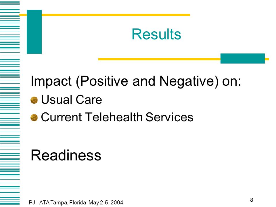 PJ - ATA Tampa, Florida May 2-5, 2004 8 Results Impact (Positive and Negative) on: Usual Care Current Telehealth Services Readiness