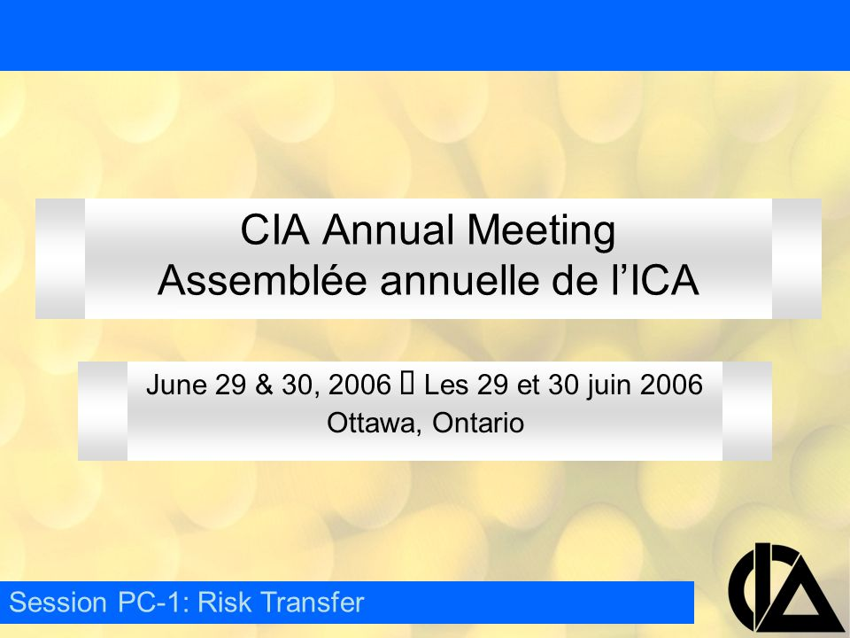 CIA Annual Meeting Assemblée annuelle de l'ICA June 29 & 30, 2006  Les 29 et 30 juin 2006 Ottawa, Ontario Session PC-1: Risk Transfer