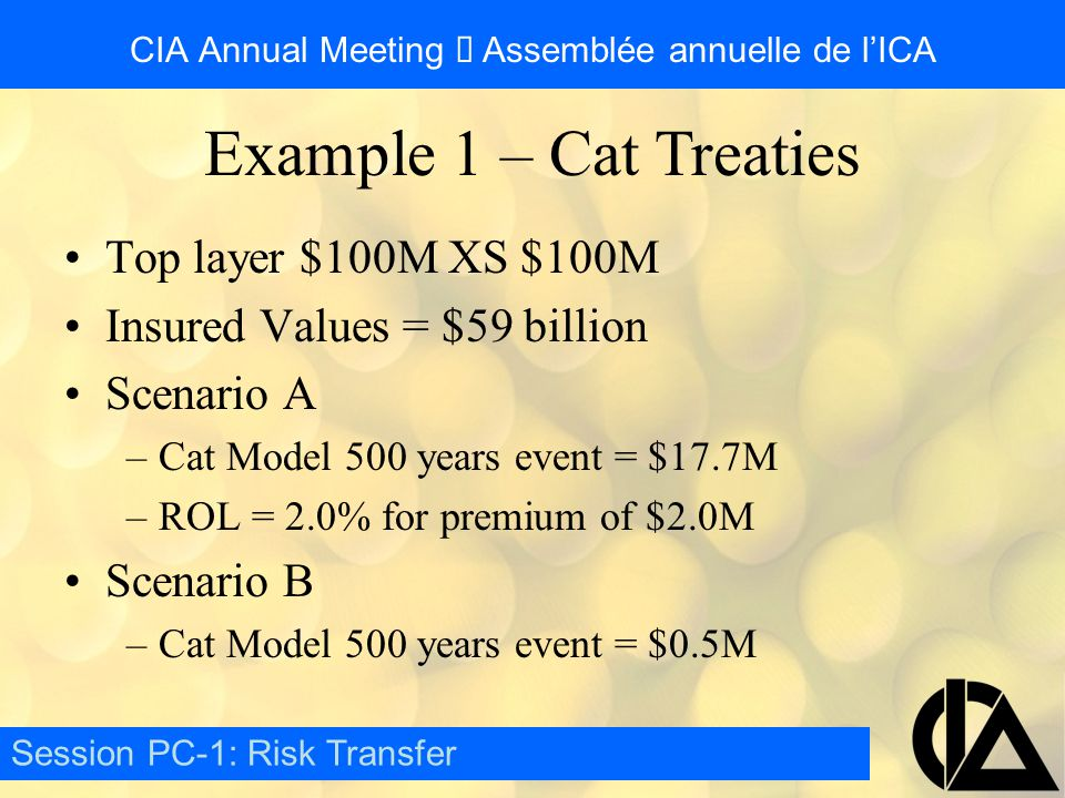 CIA Annual Meeting  Assemblée annuelle de l'ICA Top layer $100M XS $100M Insured Values = $59 billion Scenario A –Cat Model 500 years event = $17.7M –ROL = 2.0% for premium of $2.0M Scenario B –Cat Model 500 years event = $0.5M Session PC-1: Risk Transfer Example 1 – Cat Treaties