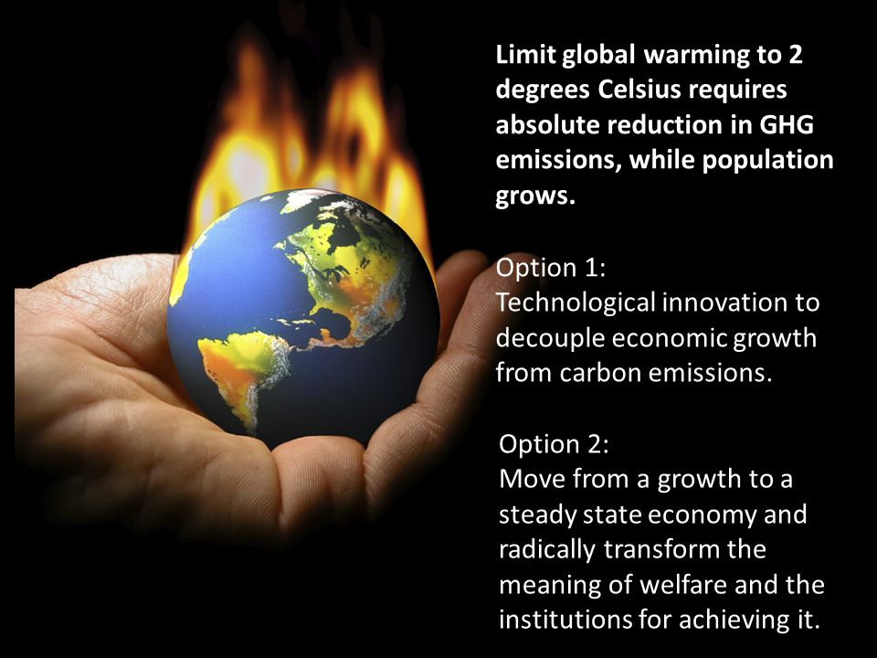 Limit global warming to 2 degrees Celsius requires absolute reduction in GHG emissions, while population grows.