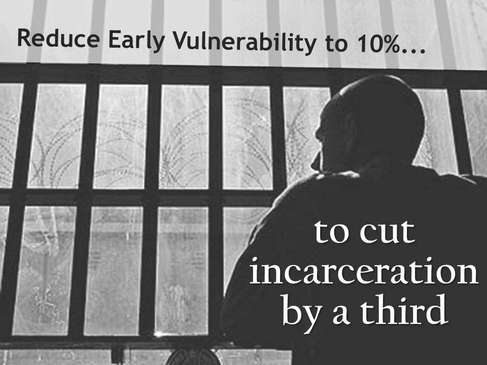 to cut incarceration by a third Reduce Early Vulnerability to 10%...