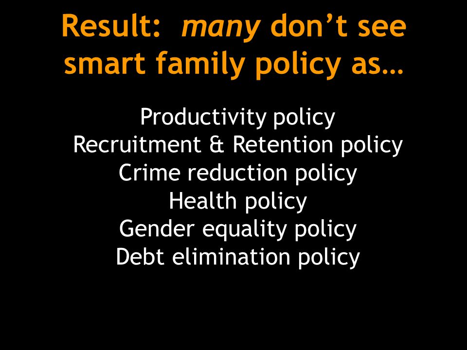 Result: many don't see smart family policy as… Productivity policy Recruitment & Retention policy Crime reduction policy Health policy Gender equality policy Debt elimination policy