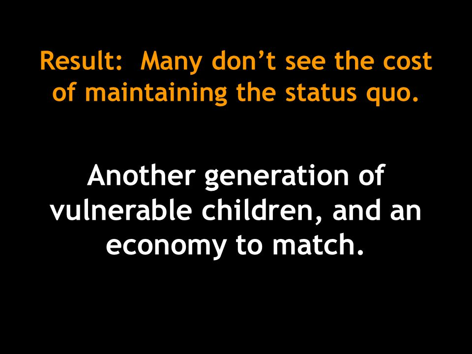 Result: Many don't see the cost of maintaining the status quo.