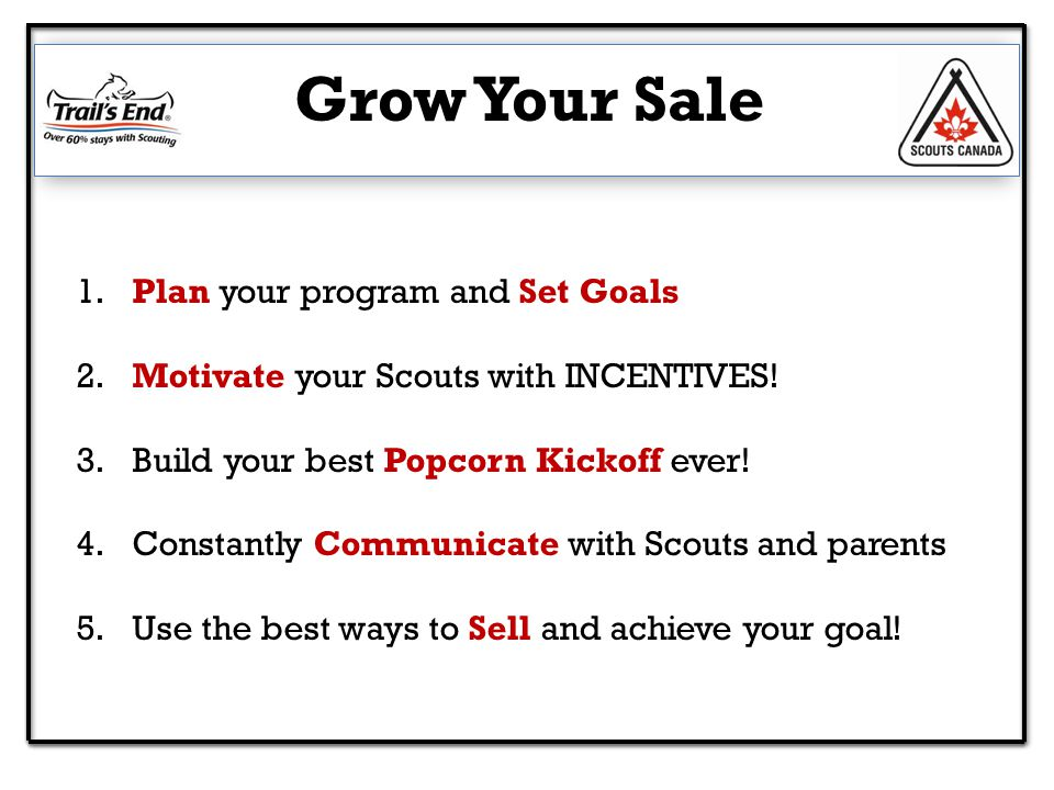 Grow Your Sale 1. Plan your program and Set Goals 2.