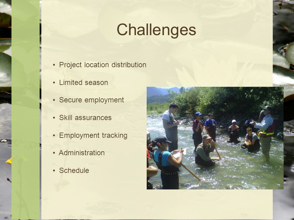Challenges Project location distribution Limited season Secure employment Skill assurances Employment tracking Administration Schedule