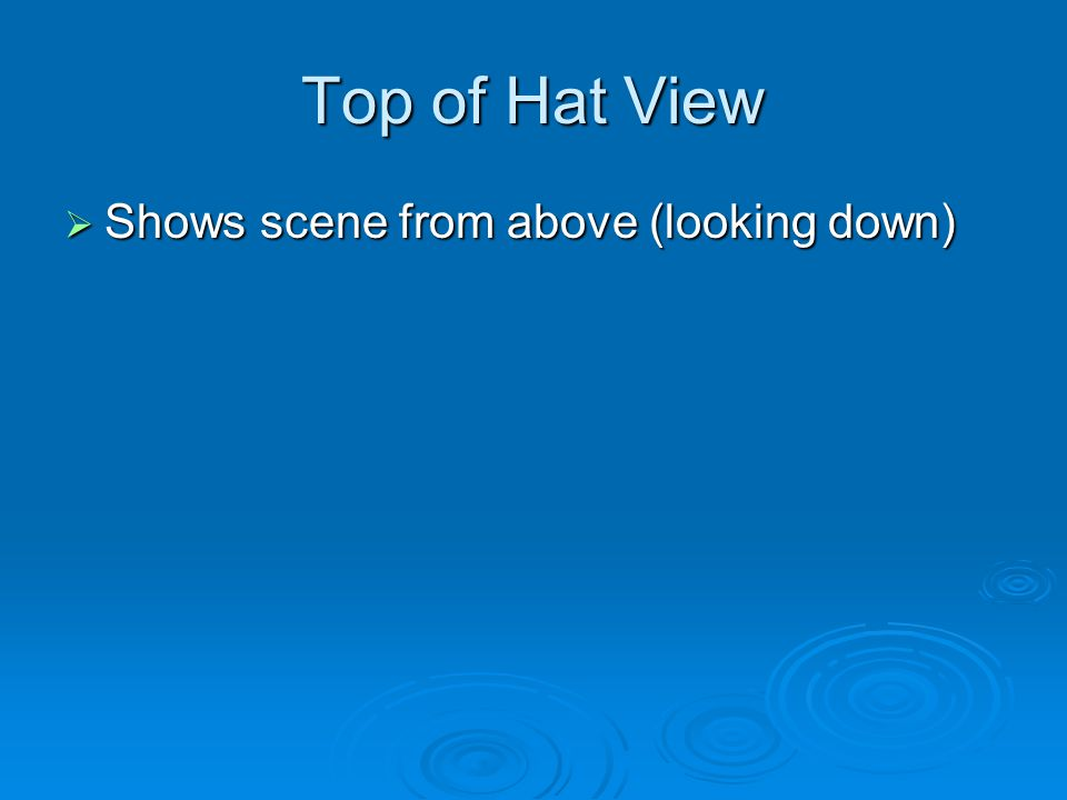 Top of Hat View  Shows scene from above (looking down)