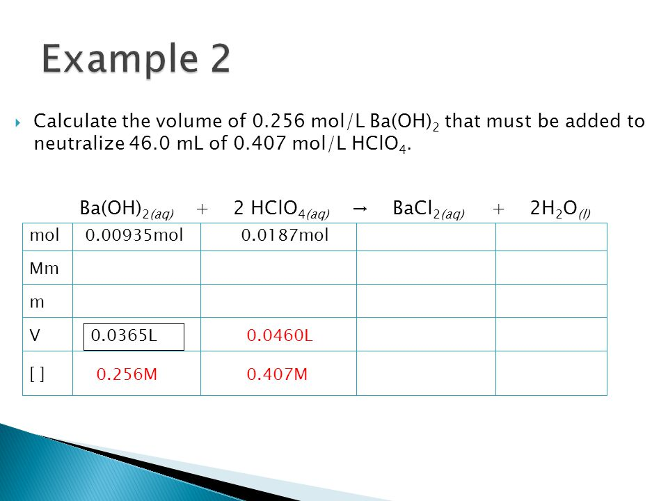  Calculate the volume of 0.256 mol/L Ba(OH) 2 that must be added to neutralize 46.0 mL of 0.407 mol/L HClO 4.