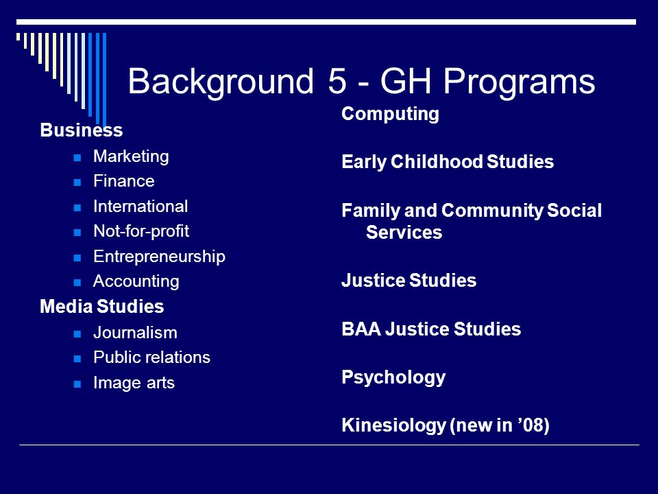 Background 5 - GH Programs Business Marketing Finance International Not-for-profit Entrepreneurship Accounting Media Studies Journalism Public relations Image arts Computing Early Childhood Studies Family and Community Social Services Justice Studies BAA Justice Studies Psychology Kinesiology (new in '08)