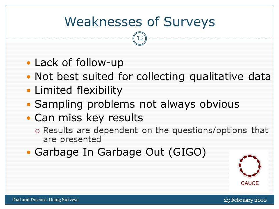 23 February 2010 Dial and Discuss: Using Surveys 12 Weaknesses of Surveys Lack of follow-up Not best suited for collecting qualitative data Limited flexibility Sampling problems not always obvious Can miss key results  Results are dependent on the questions/options that are presented Garbage In Garbage Out (GIGO)
