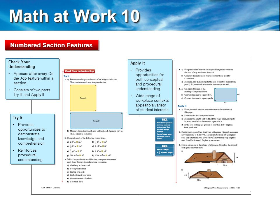 Math at Work 10 Math at Work 10 Check Your Understanding Try It Provides opportunities to demonstrate knowledge and comprehension Reinforces procedural understanding Try It Provides opportunities to demonstrate knowledge and comprehension Reinforces procedural understanding Apply It Provides opportunities for both conceptual and procedural understanding Wide range of workplace contexts appealto a variety of student interests Apply It Provides opportunities for both conceptual and procedural understanding Wide range of workplace contexts appealto a variety of student interests Numbered Section Features Check Your Understanding Appears after every On the Job feature within a section Consists of two parts Try It and Apply It Check Your Understanding Appears after every On the Job feature within a section Consists of two parts Try It and Apply It